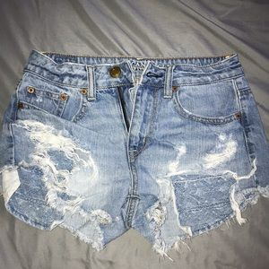American Eagle high rise distressed shorts size 25